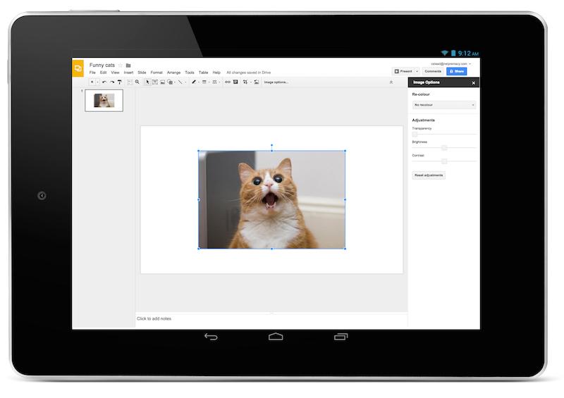 Google Slides on a tablet