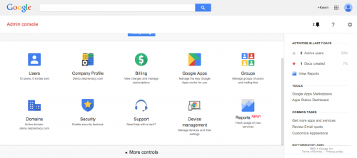 Google Apps admin console