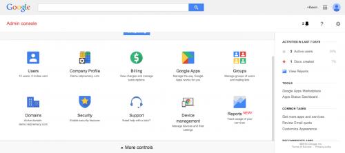 Google Apps admin console